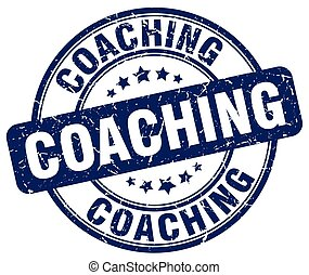 coaching blue grunge round vintage rubber stamp