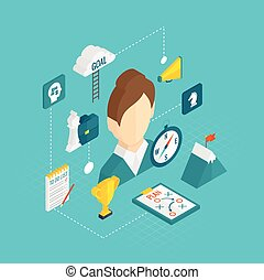 Coaching business isometric icon set with female coach avatar vector illustration