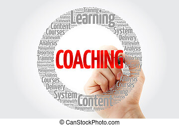 COACHING circle stamp word cloud with marker