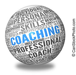 Coaching concept related words in spere tag cloud isolated on white