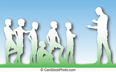 Editable vector cutout of a man coaching children football with background made using a gradient mesh