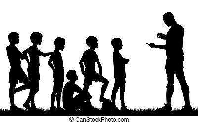 Coaching - Editable vector silhouette of a man coaching ...