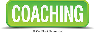 Coaching green 3d realistic square isolated button