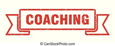 coaching grunge ribbon. coaching sign. coaching banner