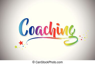 Coaching Handwritten Word Text with Rainbow Colors and Vibrant Swoosh.
