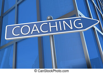 Coaching - illustration with street sign in front of office ...