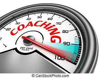 Coaching level conceptual meter indicate hundred per cent...