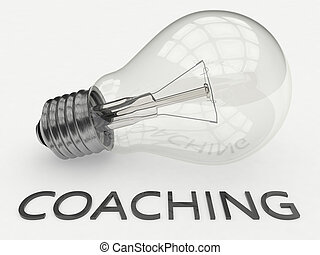 Coaching - lightbulb on white background with text under it....