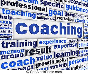 Coaching message conceptual design. Professional competences poster concept