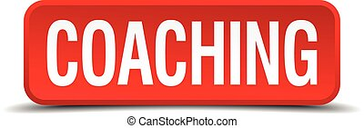 Coaching red three-dimensional square button isolated on white background