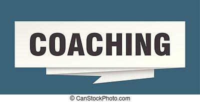coaching sign. coaching paper origami speech bubble....