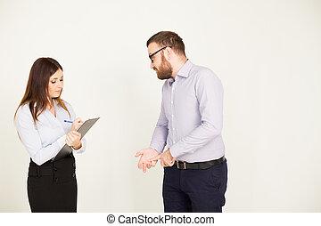 Coaching tasking boss and woman