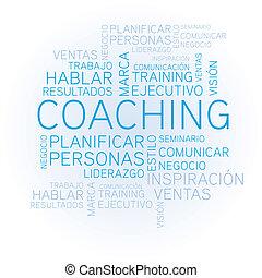 Coaching word cloud concept spanish