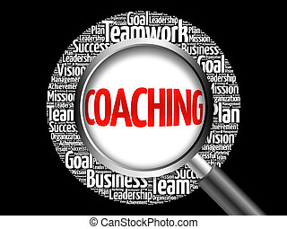 Coaching word cloud with magnifying glass