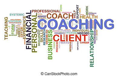 Illustration of Worldcloud word tags of coaching