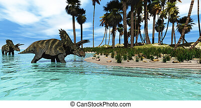 Coahuilaceratops - Two Coahuilaceratops dinosaurs wade...