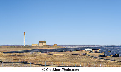 coal and gas power plant and solar farm in northern Colorado