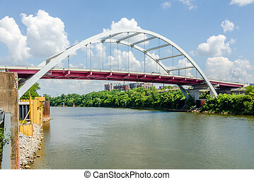 Coal barge being pushed up te CUmberland River near Downtown Nashville