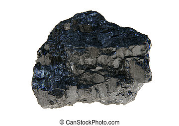 Coal - Big piece of black coal isolated on white background