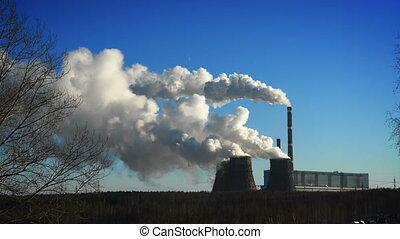 coal-burning, 발전소, 에, 겨울