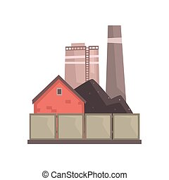 Coal burning power plant, industrial manufactury building vector illustration