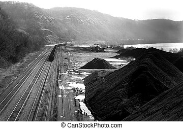 Coal - coal car on train track