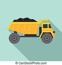 Coal dump truck icon, flat style