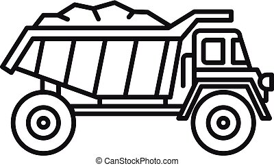 Coal dump truck icon, outline style