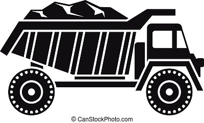 Coal dump truck icon, simple style