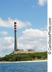 Coal-Fired power plant as seen from the sea