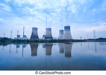 coal-fired power plant in cloudy - coal-fired power plant,...