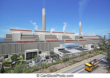 coal fired power station and car moving