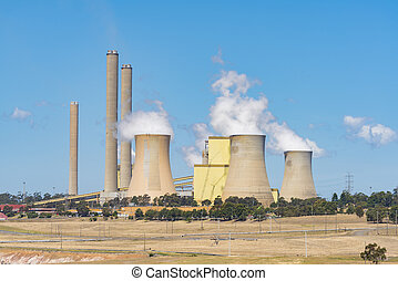 Coal-fired power station - Close-up view of a huge...
