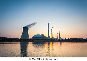 coal fired power station in sunset