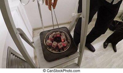 Coal for shisha on electric cooker