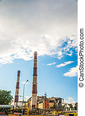 Coal Fossil Fuel Power Plant with Smokestacks
