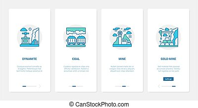 Coal gold mining industry UX, UI onboarding mobile app page screen set with line symbols
