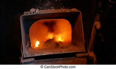 Coal hot fire train - Heat stoke hot fire of steam train