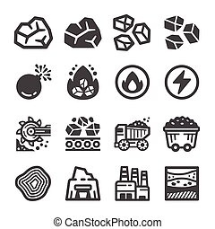 coal icon set, vector and illustration