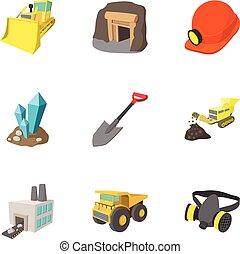 Coal icons set, cartoon style