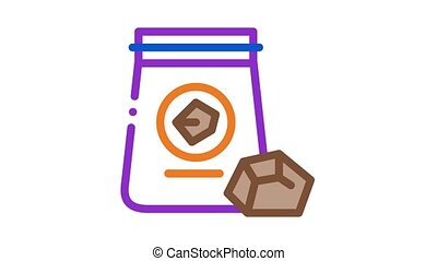 coal in bag Icon Animation. color coal in bag animated icon on white background