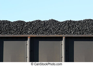 coal in boxcar - coal in train boxcar awaiting transport
