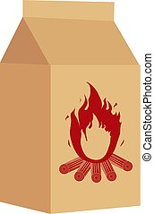 Coal in the package for BBQ icon, flat style. Isolated on white background. Vector illustration.