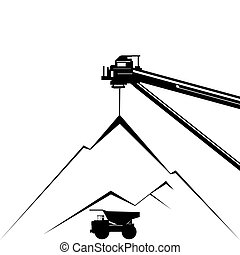 Coal industry. Coal mining. Illustration on white background.