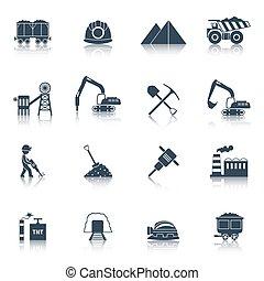 Coal Industry Icons Black - Coal industry icons black set...