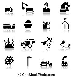 Coal machinery factory mining industry black icons set isolated vector illustration