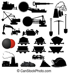 Coal industry - Set of badges and Coal mining industry...