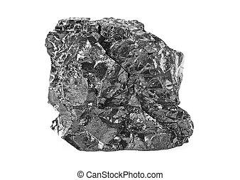 Coal isolated on white background, close-up