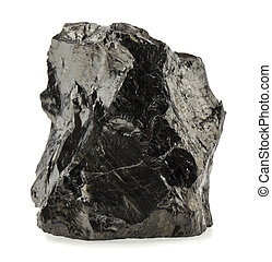 coal isolated on white background close up