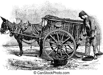 Coal Merchant, vintage engraving - Coal Merchant with...